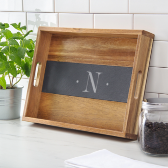 Savoy Personalized Slate and Acacia Paddle Serving Tray